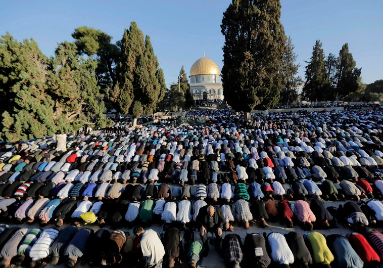 Muslims praying at the Temple mount in Israel where it is forbidden for Jews to pray.