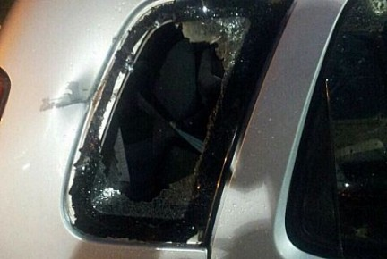Aftermath of rock-throwing attack at Gush Etzion Sunday morning.