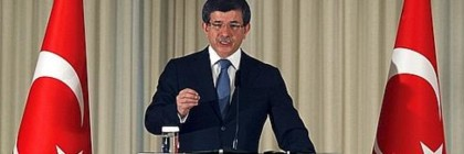 Turkey's Foreign Minister Davutoglu speaks during a news conference in Istanbul