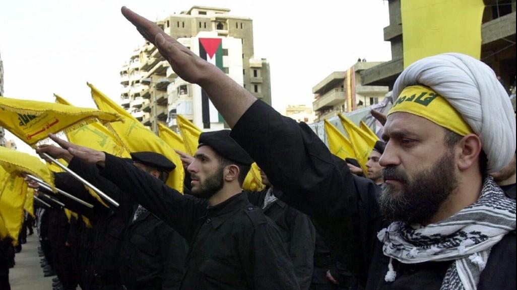 Hezbollah Muslim terrorists giving the Nazi salute.