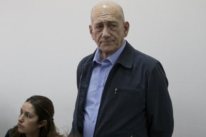 Former Israeli Prime Minister Ehud Olmert in court on Monday in Jerusalem.