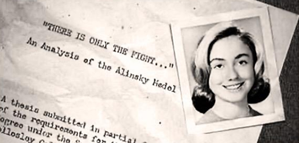 Hillary Rodham in 1965, when she was president of Wellesley College's Young Republicans, shown here with the cover page of her senior thesis from 1969 on radical organizer Saul Alinsky