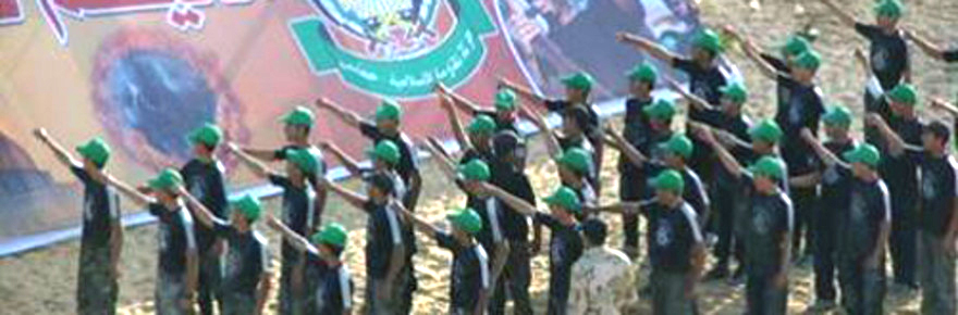 Muslim Arab children at Gaza summer camp give Nazi salute.