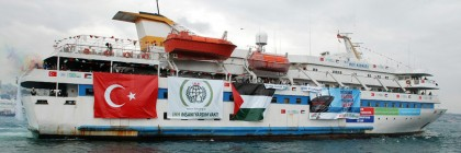 This May 22, 2010 photo provided by the Cyprus-based Free Gaza Movement shows one of the human rights group's ships, the Mavi Marmara, as it sets sail from Turkey carrying aid and hundreds of pro-Palestinian activists to the blockaded Gaza Strip. On Thursday, Nov. 6, 2014 Prosecutor Fatou Bensouda of the International Criminal Court (ICC) said that Israeli forces may have committed war crimes when they stormed an aid flotilla boat heading to Gaza, but the possible crimes aren't grave enough to merit a prosecution at the ICC in The Hague, Netherlands. Eight Turks and one Turkish-American were killed and several other pro-Palestinian activists were wounded when Israeli commandos stormed the ship Mavi Marmara on May 31, 2010. (AP Photo/Free Gaza Movement, File) NO SALES