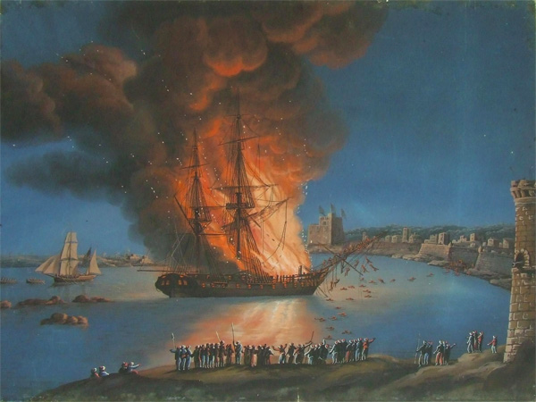 The burning of the Philadelphia in Tripoli Harbor, an act that caused the American offensive against the Barbary Pirates. (Painting from the Mariners' Museum collection)