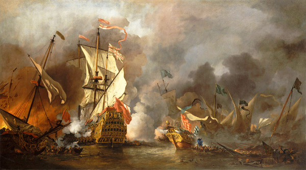 Painting by Dutch marine painter Willem van de Velde the Younger depicts an English ship under attack by Barbary pirates
