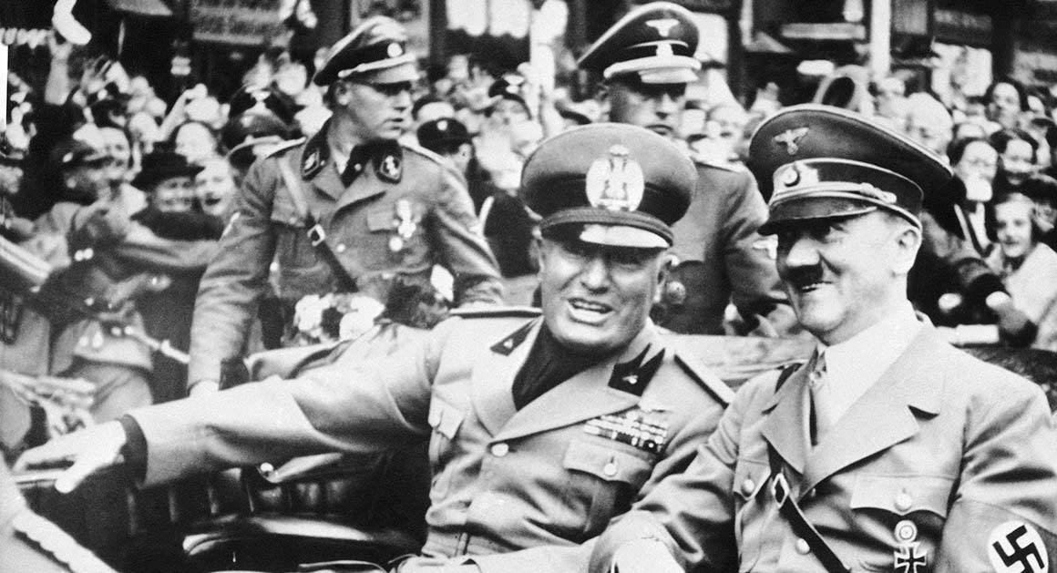 Italian dictator Benito Mussolini and Nazi leader Adolf Hitler are pictured in September 1938 in Munich, Germany.