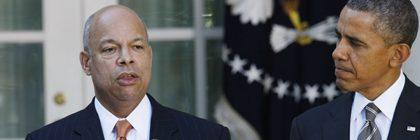 (131018) -- WASHINGTON D.C., Oct. 18, 2013 () -- Jeh Johnson (C), U.S. President Barack Obama's (R) nominee for Secretary of Homeland Security, speaks next to Vice President Joe Biden (L) in the Rose Garden of the White House in Washington D.C., the United States, Oct. 18, 2013. Obama on Friday nominated former top Pentagon lawyer Jeh Johnson to head the Department of Homeland Security.   (/Fang Zhe)  (Newscom TagID: ptsphotoshottwo311952.jpg) [Photo via Newscom]
