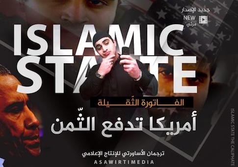 """This poster, distributed by an Islamic state militant supporter to advertise a new propaganda video, shows Omar Mateen who killed 49 people at the Pulse nightclub in Orlando, Florida, with 'Islamic State' blazoned behind him. It took just a few hours for the Islamic State group's opportunistic propaganda machine to take responsibility for the latest bloodshed in Florida and in France, with messages claiming the two attackers as its own. It may take the group longer to sort through the implications of a killer whose backstory of conflicted sexuality and heavy drinking is at odds with a carefully crafted public image of its fighters. Arabic reads: """"The large bill. America is paying the price."""" (Militant Media Arm via AP)"""