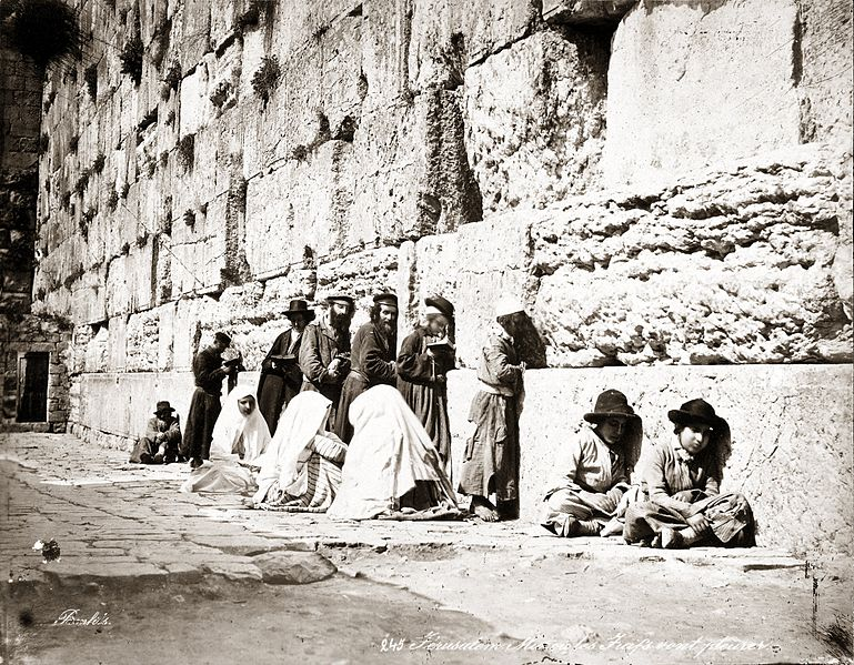 Jews praying at the Western Wall in the 1870s