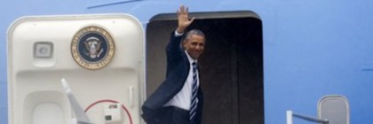 President Barack Obama waves as he enters Air Force One after appearing in Charlotte, N.C., on Wednesday, April 15, 2015. (AP Photo/Nell Redmond)