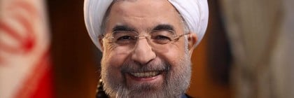 "Iranian President Hassan Rouhani smiles during an interview with Ann Curry from the U.S. television network NBC in Tehran, in this picture taken September 18, 2013, and provided by the Iranian Presidency. Rouhani said in the television interview with NBC News on Wednesday that his government would never develop nuclear weapons and that he had ""complete authority"" to negotiate a nuclear deal with the West.   Reuters/President.ir/Handout via Reuters  (IRAN - Tags: POLITICS HEADSHOT) ATTENTION EDITORS – THIS IMAGE WAS PROVIDED BY A THIRD PARTY. NO SALES. NO ARCHIVES. FOR EDITORIAL USE ONLY. NOT FOR SALE FOR MARKETING OR ADVERTISING CAMPAIGNS. THIS PICTURE IS DISTRIBUTED EXACTLY AS RECEIVED BY REUTERS, AS A SERVICE TO CLIENTS"