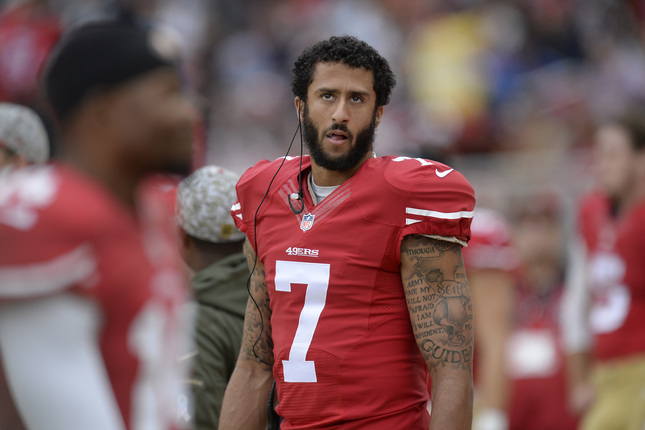 San Francisco 49ers quarterback Colin Kaepernick (7) glances up while on the sideline as they play against the Atlanta Falcons in the first quarter of their NFL game at Levi's Stadium in Santa Clara, Calif., on Sunday, Nov. 8, 2015. (Jose Carlos Fajardo/Bay Area News Group)