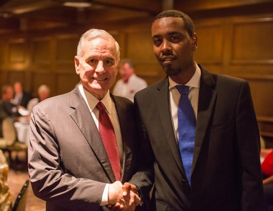 Minnesota Governor Dayton with Warsame. Remember Dayton is the MN pol who said if you don't like our Somalis, you can move to another state.