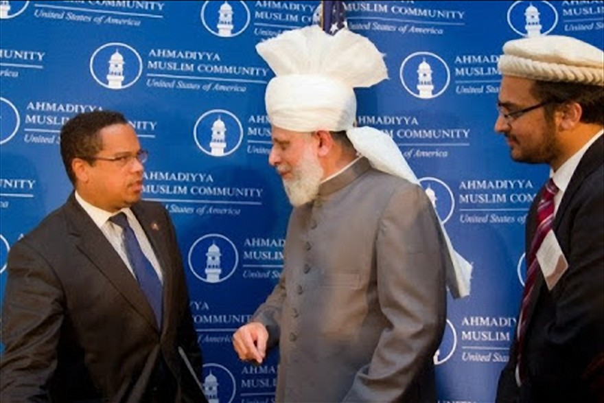 Keith Ellison with Mirza Masroor Ahmad who is the current and fifth caliph and leader of the Ahmadiyya Muslims and was part of the 2010 Ground Zero mosque controversy where the Twin Towers once stood.